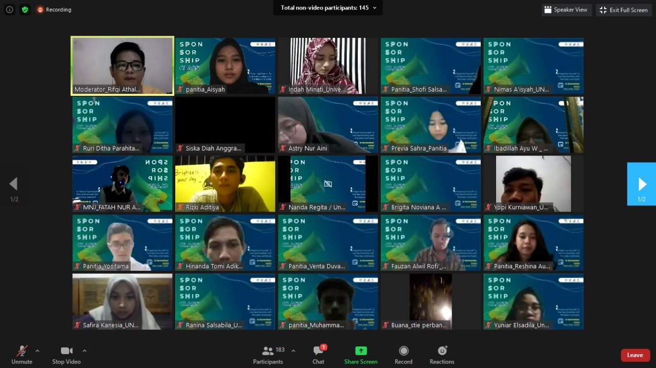 Kementerian Ekonomi Kreatif BEM FV Hadirkan Kelas Sponsorship Melalui Webinar