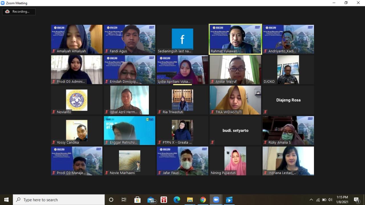 Focus Group Discussion Transformasi D-III Administrasi Perkantoran Menuju D-IV